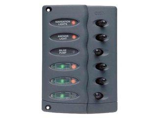 Painel de 6 interruptores à prova de salpicos CSP6-PTC c/6 fusíveis integrados