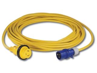 25MSPPXP- Kit cabo amarelo (25 metros) c/ficha fêmea 2 pólos + terra c/luz LED indicadora de ...
