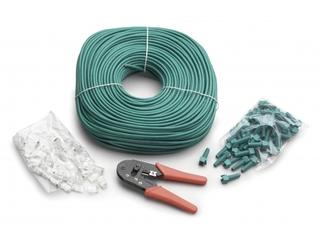 Kit DIY: ferramenta de cravar RJ45, 50 fichas RJ45,  100mts cabo CAT5E UTP