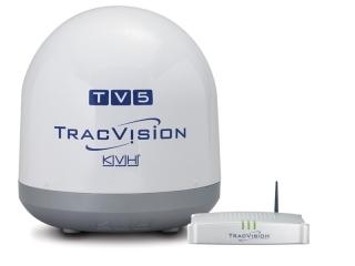 TracVision TV5 – Antena Marítima de TV por Satélite c/LNB Quad Universal. Skew Automático