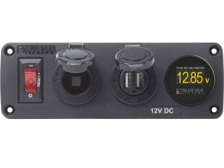 4356 BelowDeck -  Panel w/ 15A Circuit Breaker, 12V Socket, 2.1A Dual USB Charger, Mini Voltmeter