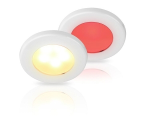 Warm White/Red EuroLED 75 Dual Colour LED Down Lights w/ White Plastic Rim, Screw mount