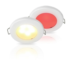 Warm White/Red EuroLED 75 Dual Colour LED Down Lights w/ White Plastic Rim, Spring clip
