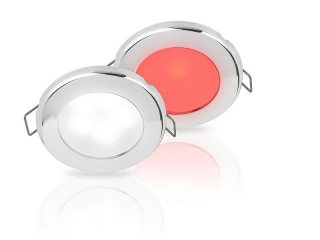 White/Red EuroLED 75 Dual Colour LED Down Lights w/ Stainless Steel Rim, Spring clip