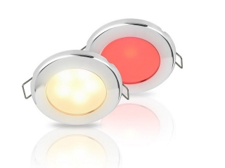 Warm White/Red EuroLED 75 Dual Colour LED Down Lights w/ Stainless Steel Rim, Spring clip