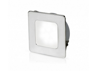 White EuroLED 95 Gen 2 LED – Stainless Steel Square Rim Down Lights with Spring Clips