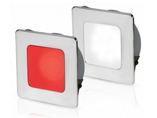 White/Red EuroLED 95 Gen 2 LED – Stainless Steel Square Rim Down Lights with Spring Clips