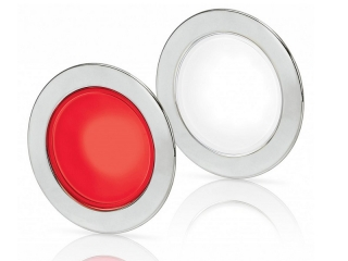 White/Red EuroLED 95 Gen 2 LED – Stainless Steel Round Rim Down Lights with Spring Clips