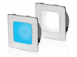White/Blue EuroLED 95 Gen 2 LED – Stainless Steel Square Rim Down Lights with Spring Clips