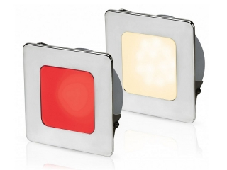 Warm White/Red EuroLED 95 Gen 2 LED – Stainless Steel Square Rim Down Lights with Spring Clips