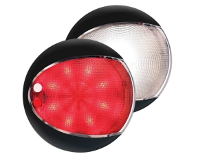 Red / White EuroLED 130 – Black Rim Dual Color LED Touch Lamp
