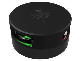 Luz LED de Navegação Circular Bicolor visível a 1 mn, c/ 2.5m de cabo. Versão em preto