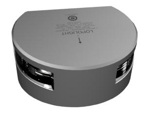 Luz LED Branca de Navegação p/ Mastro de 225° c/ luz de convés e 15m de cabo. Montagem vertical.