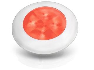 Slim Line Red 24V LED Courtesy Lamp w/ white plastic round frame