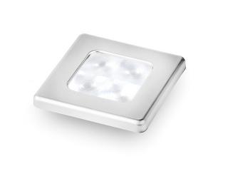 Slim Line White 12V LED Courtesy Lamp w/ Stainless Steel square frame