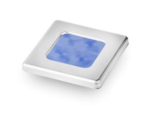 Slim Line Blue 12V LED Courtesy Lamp w/ Stainless Steel square frame