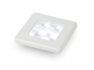 Slim Line White 12V LED Courtesy Lamp w/ white plastic square frame
