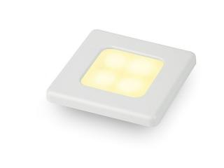 Slim Line Warm White 12V LED Courtesy Lamp w/ white plastic square frame