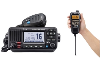 IC-M423GE – VHF / DSC Marine VHF Fixed Mount Radio w/ GPS and external GPS antenna and HM-195B ...